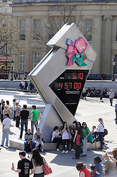 © under license to London News Pictures. .2011.04.07 .The official Olympic countdown clock to London 2012 in Trafalgar Square today.. Picture credit should read Grant Falvey/London News Pictures...