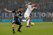 Valere Germain of Olympique de Marseille and Jeremy Morel of Olympique Lyonnais during the French Championship Ligue 1 football match between Olympique de Marseille and Olympique Lyonnais on march 18, 2018 at Orange Velodrome stadium in Marseille, France - Photo Philippe Laurenson / ProSportsImages / DPPI