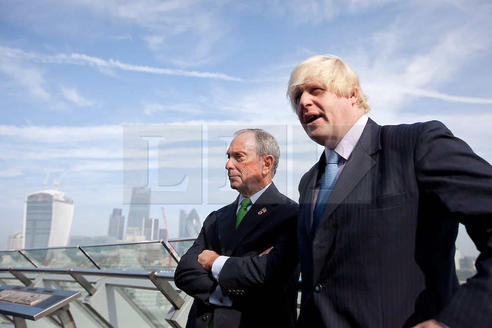 © Licensed to London News Pictures. 24/09/2013. London, UK. Boris Johnson (R), the Mayor of London and Michael Bloomberg, the Mayor of New York, are seen at the launch of the 2013-2014 Mayor's Challenge at City Hall in London today (24/09/2013). The competition, sponsored by Bloomberg Philanthropies, aims to aid cities to come up with bold solutions to urban challenges  Photo credit: Matt Cetti-Roberts/LNP