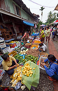 Laos. Luang Prabang. Morning market. Fruit and vegetables.