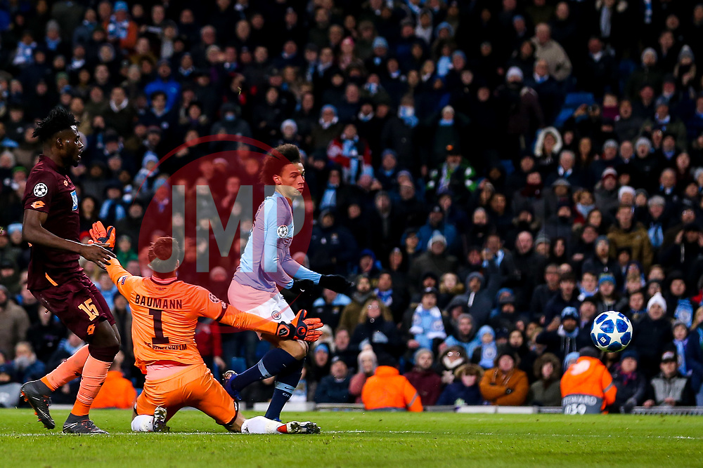 Leroy Sane of Manchester City scores a goal to make it 2-1 - Mandatory by-line: Robbie Stephenson/JMP - 12/12/2018 - FOOTBALL - Etihad Stadium - Manchester, England - Manchester City v Hoffenheim - UEFA Champions League Group stage