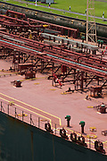 Pipes on tanker ship, elevated view, Panama, Central America