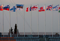 Flags during day two of the 20th European Athletics Championships at the Olympic Stadium on July 28, 2010 in Barcelona, Spain. (Photo by Vid Ponikvar / Sportida)