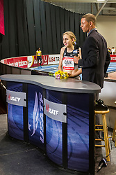 Mary Cain interviewed by TV host Dan O'Brien after setting world junior record