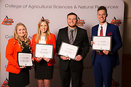 Farmers Grain Company Endowed Scholarship recipients, Elizabeth Elliott, Trev Schoenhals, Paige Turek, and Jace Whitehead.