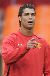 MOSCOW, RUSSIA - Tuesday, May 20, 2008: Manchester United's Cristiano Ronaldo during training ahead of the UEFA Champions League Final against Chelsea at the Luzhniki Stadium. (Photo by David Rawcliffe/Propaganda)