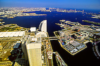 View of Yokohama waterfront from the Landmark Tower, Yokohama, Japan