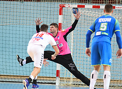 Bogdan Radivojevic of Serbia and Rak Zaponsek of Slovenia during friendly handball match between Slovenia and Srbija, on October 27th, 2019 in Športna dvorana Lukna, Maribor, Slovenia. Photo by Milos Vujinovic / Sportida