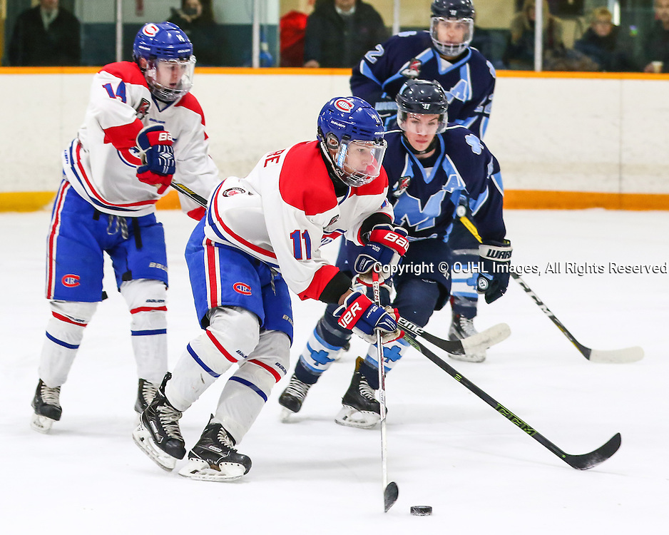 Trenton, ON - JAN 25,  2017: Ontario Junior Hockey League game between St. Michaels and Toronto at the 2017 Winter Showcase, Matthew Di Cesare #11 of the Toronto Jr. Canadiens battle for the puck with help from Mathew Rehding #14 of the Toronto Jr. Canadiens during the first period.<br /> (Photo by Hark Nijjar/ OJHL Images)