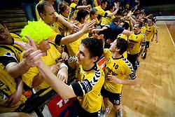 Jure Dobelsek and Sebastijan Sovic  celebrates with fans at handball match of MIK 1st Men league between RD Slovan and RK Gorenje Velenje, on May 16, 2009, in Arena Kodeljevo, Ljubljana, Slovenia. Gorenje won 27:26. (Photo by Vid Ponikvar / Sportida)