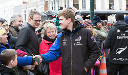 Helmsman Peter Burling meets fans in the Octagon during Emirates Team New Zealand's Americas Cup victory parade in Dunedin, New Zealand, Thursday, July 13, 2017. Credit:SNPA / Adam Binns ** NO ARCHIVING**