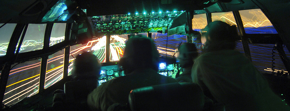 U.S. Air Force Airmen from the 746th Expeditionary Airlift Squadron handle an in-flight emergency and return flight to Sather Air Base, Iraq April 20, 2006. (U.S. Air Force photo by Master Sgt. Lance Cheung) (Released)