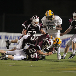 31 October, 2008:  St. Thomas Aquinas WB/SS Jarred Morales (#25) St. Thomas Aquinas LB/WB Charles Robert Miller  (#16) The St. Thomas Falcons recorded their first shut out of the season with a 41-0 shutout of the Southern Lab Kittens at Strawberry Stadium in Hammond, LA.