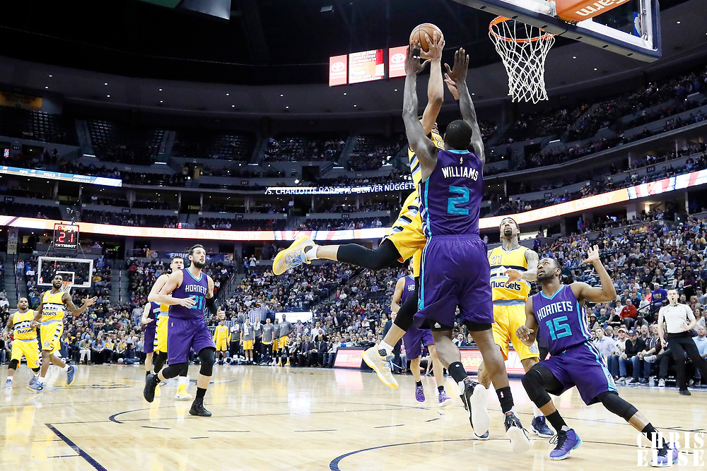 04 March 2017: Denver Nuggets guard Jamal Murray (27) goes for the layup against Charlotte Hornets forward Marvin Williams (2) during the Charlotte Hornets 112-102 victory over the Denver Nuggets, at the Pepsi Center, Denver, Colorado, USA.