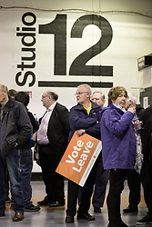 "© Licensed to London News Pictures . 15/04/2016 . Manchester , UK . People in the queue waiting for Boris Johnson to speak at a "" Vote Leave "" rally at Old Granada Studios , in Manchester . Photo credit: Joel Goodman/LNP"