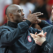Kobe Bryant, USA, blows kisses from the podium after the USA victory during the Men's Basketball Final between USA and Spain at the North Greenwich Arena during the London 2012 Olympic games. London, UK. 12th August 2012. Photo Tim Clayton