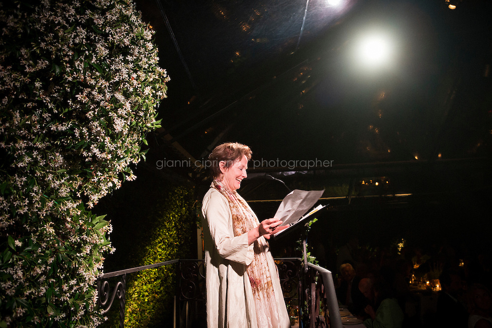 ROME, ITALY - 3 JUNE 2015: Chef Alice Waters introduces Slow Food President Carlo Petrini at the McKim Medal Gala honouring Carlo Petrini and Paolo Sorrentino at the American Academy  in Rome, Italy, on June 3rd 2015.