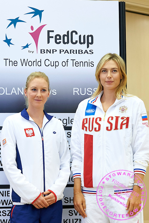 (L) Urszula Radwanska from Poland and (R) Maria Sharapova from Russia during official draw one day before the Fed Cup / World Group 1st round tennis match between Poland and Russia at Holiday Inn on February 6, 2015 in Cracow, Poland.<br /> <br /> Poland, Cracow, February 6, 2015<br /> <br /> Picture also available in RAW (NEF) or TIFF format on special request.<br /> <br /> For editorial use only. Any commercial or promotional use requires permission.<br /> <br /> Adam Nurkiewicz declares that he has no rights to the image of people at the photographs of his authorship.<br /> <br /> Mandatory credit:<br /> Photo by &copy; Adam Nurkiewicz / Mediasport