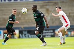 Raith Rovers Christian Nade and Falkirk's Joe Shaughnessy.<br /> Raith Rovers 0 v 0 Falkirk, Scottish Championship game played 27/9/2014 at Raith Rovers Stark Park.