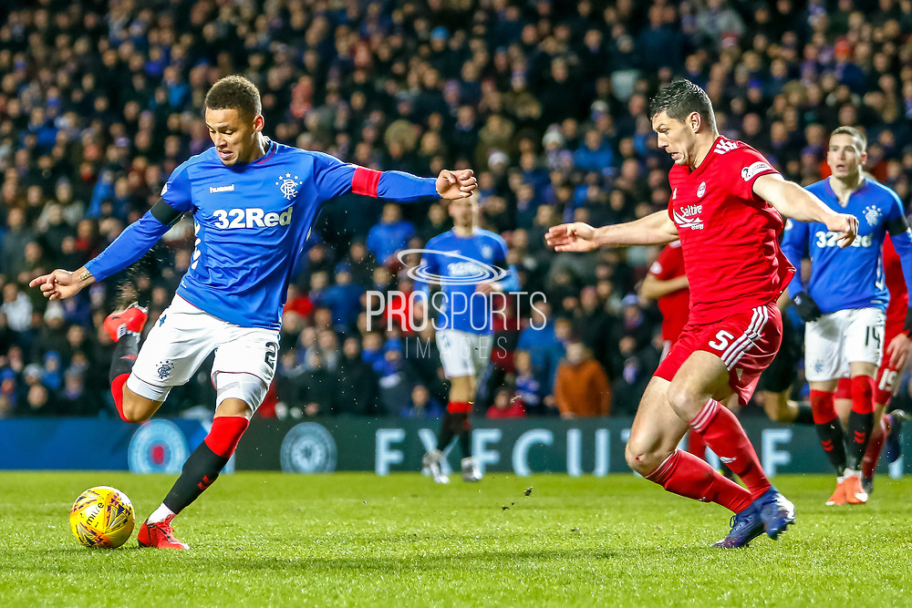 James Tavernier (C) shoots during the William Hill Scottish Cup quarter final replay match between Rangers and Aberdeen at Ibrox, Glasgow, Scotland on 12 March 2019.