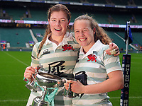 Rugby Union - 2019 (31st Women's) Varsity Match - Oxford University vs. Cambridge University<br /> <br /> Cambridge winning try scorer, Coreen Grant (right) and Captain, Fiona Shuttleworth, celebrate with the trophy after the match, at Twickenham.<br /> <br /> COLORSPORT/ANDREW COWIE