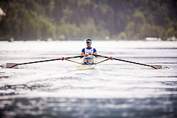 Hrvat Rajko of Slovenia competes during semi finals of Rowing World Cup on May 9, 2015, at Bled's lake, Bled, Slovenia. (Photo by Grega Valancic / Sportida)