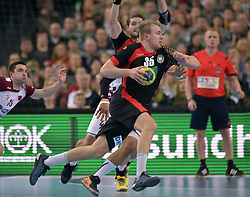 11.03.2016, Leipzig, GER, Handball Länderspiel, Deutschland vs Katar, Herren, im Bild Julius Kühn / Kuehn (GER #35) am Ball // during the men's Handball international Friendlies between Germany and Qatar in Leipzig, Germany on 2016/03/11. EXPA Pictures © 2016, PhotoCredit: EXPA/ Eibner-Pressefoto/ Modla<br /> <br /> *****ATTENTION - OUT of GER*****