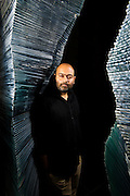 13th September 2011, Rajokri, Delhi, India. Famed Indian art collector Anupam Poddar <br /> <br /> Poddar is one of India's most important contemporary art collectors and listed as one of top 20 globally. <br /> Poddar, who is industrialist G.P. Birla&rsquo;s maternal grandson, changes the art in his home once every year, or two.<br /> PHOTOGRAPH BY AND COPYRIGHT OF SIMON DE TREY-WHITE<br /> <br /> + 91 98103 99809<br /> + 91 11 435 06980<br /> +44 07966 405896<br /> +44 1963 220 745<br /> email: simon@simondetreywhite.com photographer in delhi