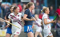 UTRECHT -  Carole Thate, Els Brouwer en Ingrid Wolff   tijdens de finale Veteranen hoofdklasse A dames tussen Kampong en Amsterdam. Kampong wint na shoot out. COPYRIGHT KOEN SUYK