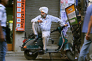 sikh man in deep thought, delhi, india