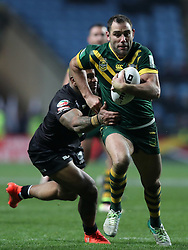 New Zealand's Manu Ma'u tackles Australia's Cameron Smith during the Four Nations match at the Ricoh Arena, Coventry.