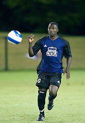 Old Dominion Monarchs forward Ambane Emmanuel (10) in action against UVA.  The Virginia Cavaliers defeated the Old Dominion Monarchs 3-0 in a pre-season NCAA Men's Soccer exhibition game held at Klockner Stadium on the Grounds of the University of Virginia in Charlottesville, VA on August 23, 2008.