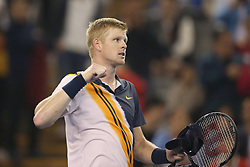 BEIJING, Oct. 5, 2018  Kyle Edmund of Britain celebrates after winning the men's singles quarterfinal match against Dusan Lajovic of Serbia at China Open tennis tournament in Beijing, China, Oct. 5, 2018. Kyle Edmund won 2-0. (Credit Image: © Xinhua via ZUMA Wire)