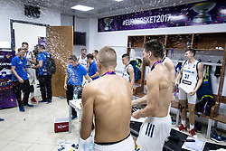 Edo Muric of Slovenia, Gasper Vidmar of Slovenia celebrating in a locker room after winning during the Final basketball match between National Teams  Slovenia and Serbia at Day 18 of the FIBA EuroBasket 2017 when Slovenia became European Champions 2017, at Sinan Erdem Dome in Istanbul, Turkey on September 17, 2017. Photo by Sportida