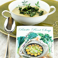 Sara Graca's vegan rustic root soup. A creamy potato, leek, celery root soup topped with ribbons of fried kale.