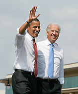 Barack Obama with Joe Biden at a rally held in Springfield Illinois on August 23 2008.