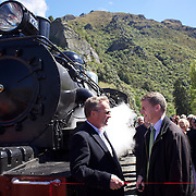 Deputy Prime Minister Bill English and owner David Bryce ((left) with the Kingston Flyer vintage steam train at Saturday's relaunch of the historic locomotives at Fairlight near Queenstown, Central Otago, New Zealand, 29th October 2011. Photo Tim Clayton...