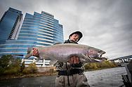 Fall steelhead fishing on the Grand River in downtown Grand Rapids, Michigan.