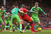 Sunderland midfielder Jan Kirchhoff tackles Liverpool defender Mamadou Sakho  in the box  during the Barclays Premier League match between Liverpool and Sunderland at Anfield, Liverpool, England on 6 February 2016. Photo by Simon Davies.