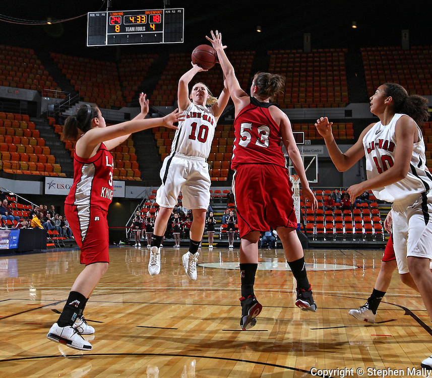 Linn-Mar's DJ Norman (10) shoots over Assumption's Alyson Valainis (53) during their Rivalry Saturday game at the US Cellular Center in Cedar Rapids on Saturday January 2, 2010. Linn-Mar defeated Assumption 52-48. (Stephen Mally/Freelance)
