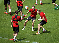 BUDAPEST, HUNGARY - Monday, June 10, 2019: Wales' David Brooks (L) and Ben Woodburn during a training session ahead of the UEFA Euro 2020 Qualifying Group E match between Hungary and Wales at the Ferencváros Stadion. (Pic by David Rawcliffe/Propaganda)