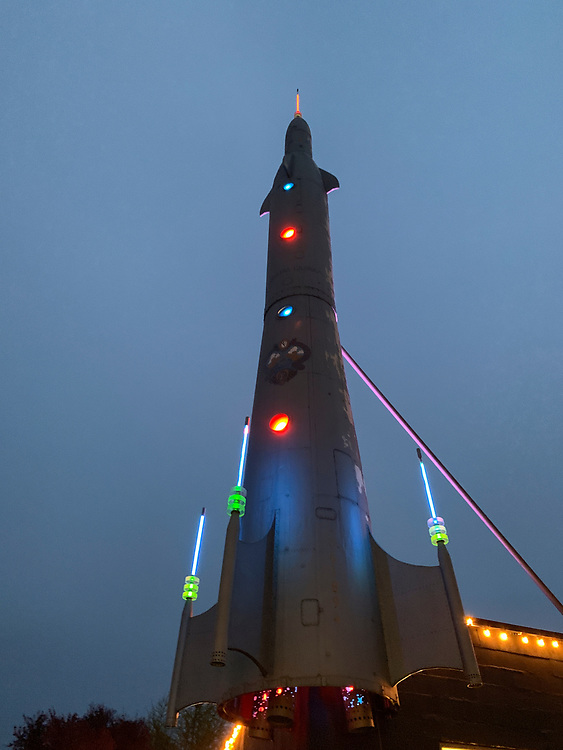 United States, Washington, Seattle, Fremont Rocket at twilight