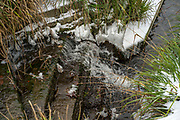 Maidenhead, United Kingdom.  General View, Small Waterfall, Raymill Island Winter Snow. Banks of the River Thames. <br /> <br /> Friday  02/03/2018 <br /> <br /> © Peter SPURRIER,<br /> <br /> Leica Camera AG  LEICA M (Typ 262)  1/125sec. 50 mm f5.6 ISO 320 .  25.1MB