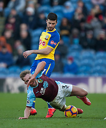 Shane Long of Southampton (Top) fouls Charlie Taylor of Burnley - Mandatory by-line: Jack Phillips/JMP - 02/02/2019 - FOOTBALL - Turf Moor - Burnley, England - Burnley v Southampton - English Premier League