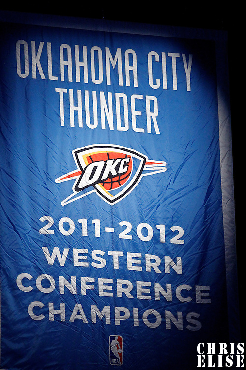 12 June 2012: Western Conference Champions banner is seen in the rafters during the Oklahoma City Thunder 105-94 victory over the Miami Heat, in Game 1 of the 2012 NBA Finals, at the Chesapeake Energy Arena, Oklahoma City, Oklahoma, USA.
