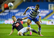 Craig Forsyth and Nick Blackman during the Sky Bet Championship match between Reading and Derby County at the Madejski Stadium, Reading, England on 15 September 2015. Photo by Adam Rivers.