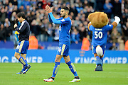 Leicester City midfielder and Goalscorer Riyad Mahrez applauds the fans during the Barclays Premier League match between Leicester City and Swansea City at the King Power Stadium, Leicester, England on 24 April 2016. Photo by Alan Franklin.