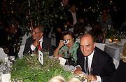 Joseph Ettendui, Susy Menkes and Nicholas Coleridge, House of Courvoisier Anya Hindmarsh 10th Anniversary Party, Chelsea Physic Garden, 4 September 2003. © Copyright Photograph by Dafydd Jones 66 Stockwell Park Rd. London SW9 0DA Tel 020 7733 0108 www.dafjones.com