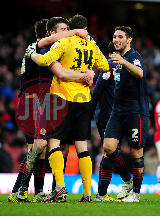 Blackburn Rovers' celebrate their win - Photo mandatory by-line: Dougie Allward/JMP - Tel: Mobile: 07966 386802 16/02/2013 - SPORT - FOOTBALL - Emirates Stadium - London -  Arsenal V Blackburn Rovers - FA Cup - Fifth Round