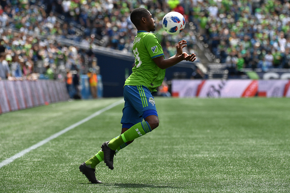 May 05, 2018; Seattle, Washington, US;  Seattle Sounders defender Kelvin Leerdam (18) catches a pass with his chest during in action between the Seattle Sounders FC and Columbus Crew at Century Link Field. Photo credit: Rick May - Rick May Photography